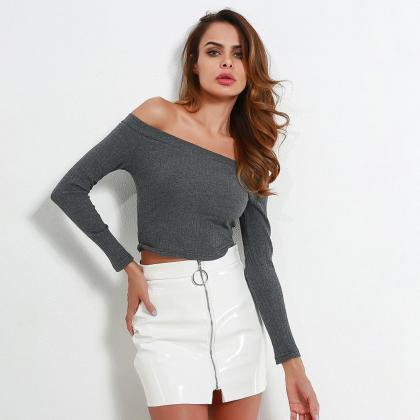 Ribbed Knit Off-The-Shoulder Long S..
