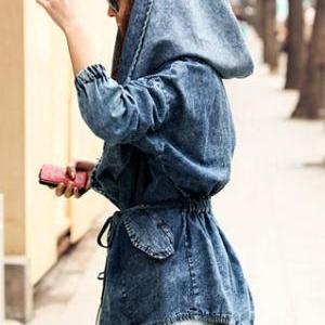 Loose Fit Oversized Hood Belted Was..