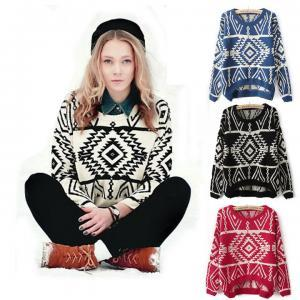 Red Aztec Sweater Knit Knitted Jump..