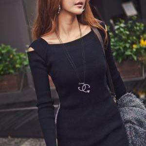 Gray Pullover Dress Tops With Squar..