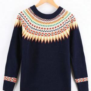 Pullover Sweater With Geometry Prin..
