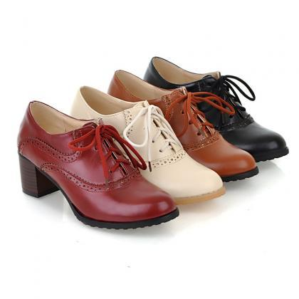 Brogue Womens Oxford Lace Up Wing T..