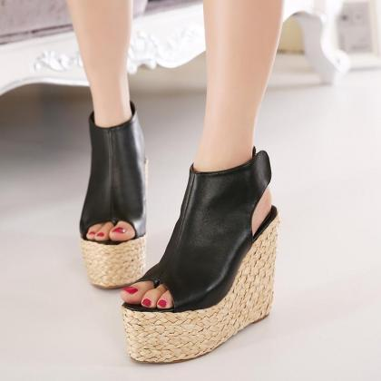 Women's Pure Color High Heel Wedge ..