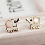 White Opal Lovely Elephant Earrings Studs