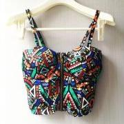 Women's Colourful Geometric Print Bralette , Crop Top with Zipper Embellishment