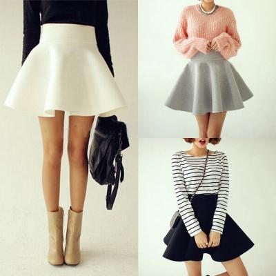 Vintage Women Stretch High Waist Short Plain Skater Flared Pleated Mini Skirt