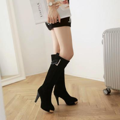Women's Pure Color High Heel Thick Heel Tassel Fake Diamond Boots