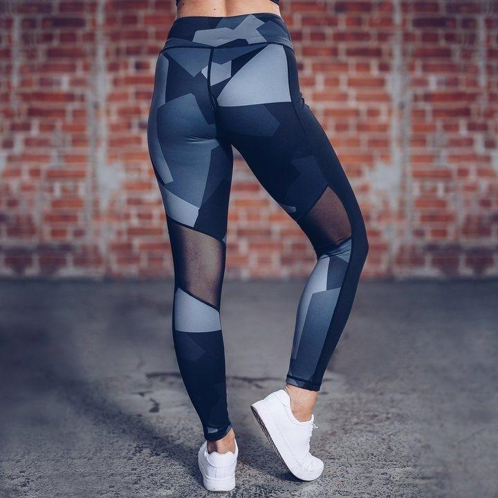 Womens Hot Sale Mesh Irrigular Shapes Patchwork Yoga Sport Running Brethable Pants
