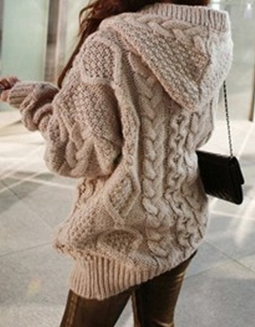 Fashion Hooded Long Sleeve Cardigan Sweater Coat