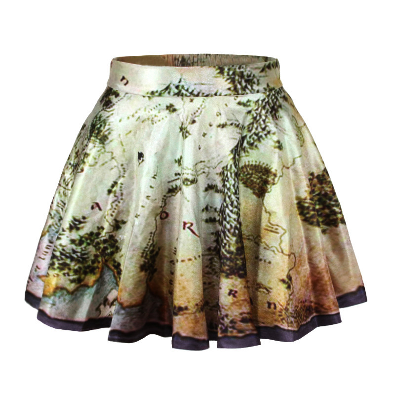 World Map Print Pleated Mini Skater Skirt