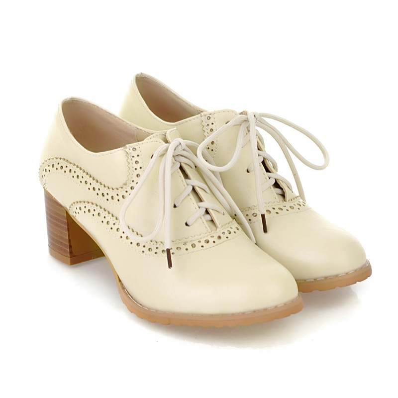 Brogue Womens Oxford Lace Up Wing Tip Retro Mid Chunky Heel Slip On Shoes Beige