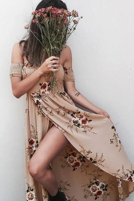 Women New Fashion Floral Printed Beach Long Dress