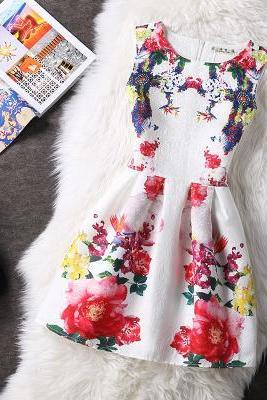 Women Printing Dress Flower Derss