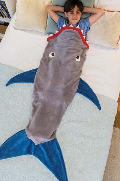 Children Grey Shark Shape Mermaid Blanket Sleeping Bag
