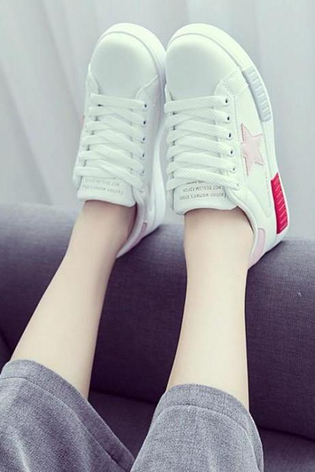 White Sneaker Women Casual Lace Up Star Pattern