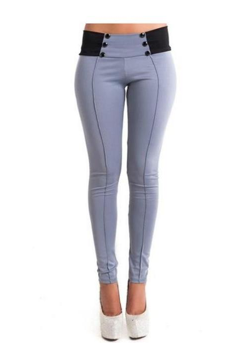 Trousers Women Pure Color Slim Cotton Pencil Sharp