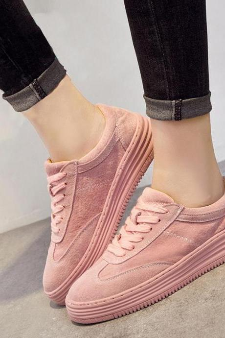 Sneakers Woman Casual Pure Color Flat Heel Breathable Sports