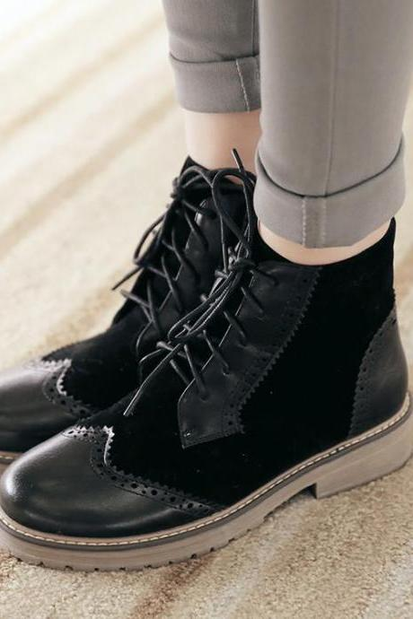 PU Mixed Color Round Toe Lace Up Low Heel Short Boots