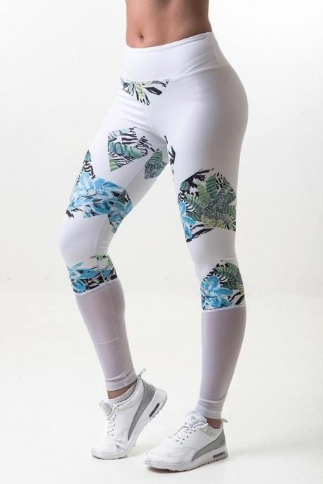 Womens Hot Sale Mesh Irrigular Flowers Printed Patchwork Yoga Sport Running Brethable Pants