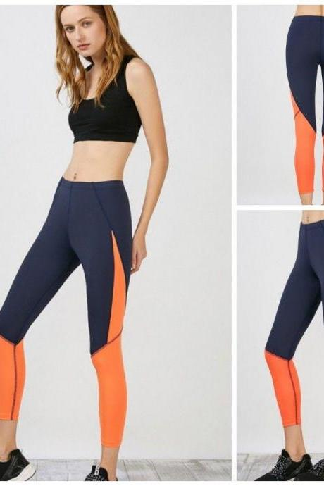 Womens Orange Patchwork Yoga Sport Running Brethable Pants