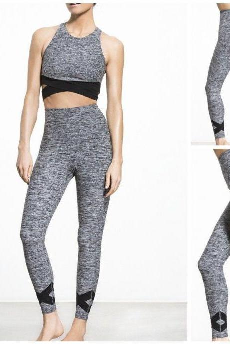 Womens Solid Patchwork Yoga Sport Running Brethable Pants