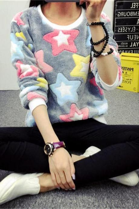 2017 Hot Sale Womens Coral Velvet Colorful Stars Printed Loose Blouse