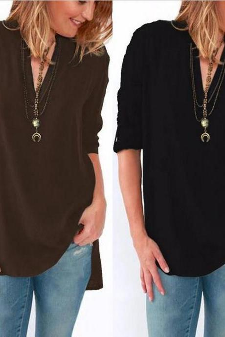 2017 New Fashion Womens Blouse Long Sleeve Chiffon Loose V-neck Shirt