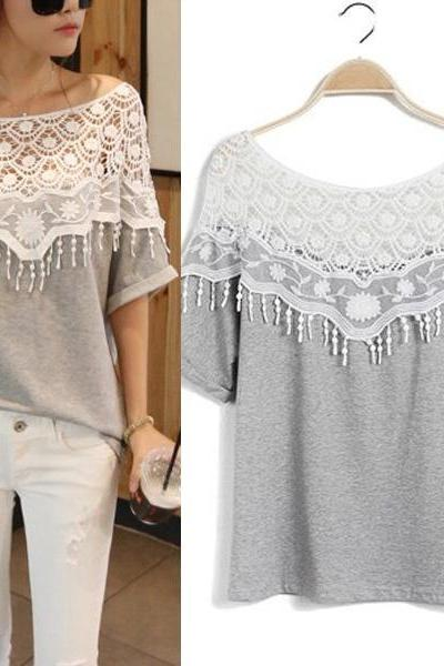 Women Sweet Hollow Out Off Shoulder Lace Loose Tee Women T-shirt Crochet Cape Collar Tops Blouse