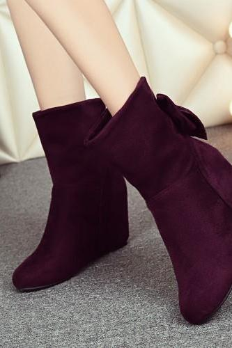 Women's Pure Color Wedge Heel Suede Metal Decoration Bowknot Snow Boots