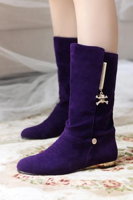 Women's Pure Color Flat Heel Suede Metal Decoration Knight Boots
