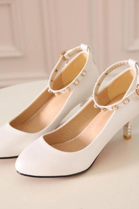 Women's Pure Color Thin Heel Band Pearl Pumps