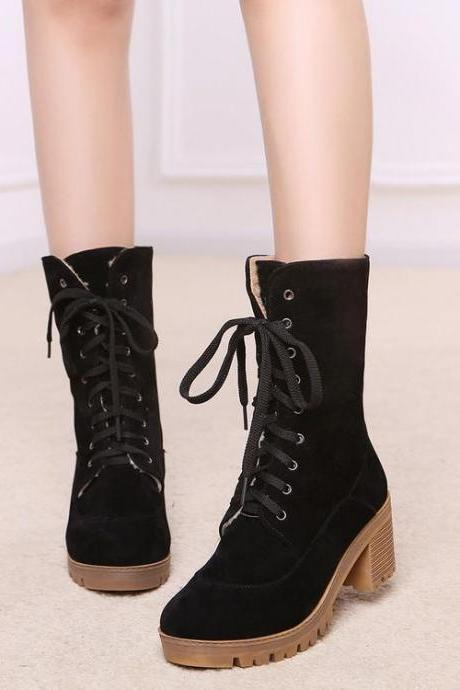 Women's Pure Color Square Heel Shoelace Suede Boots