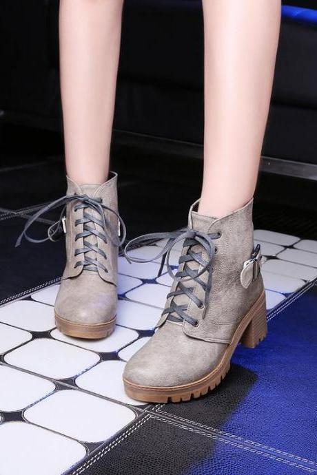 Women's Pure Color Square Heel Band Shoelace Short Boots
