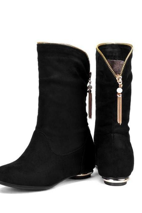 Women's Pure Color Low Heel Inside Heighten Suede Metal Decoration Boots