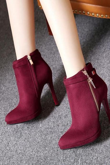 Women's Pure Color High Heel Thin Heel With Side Zippers Suede Boots