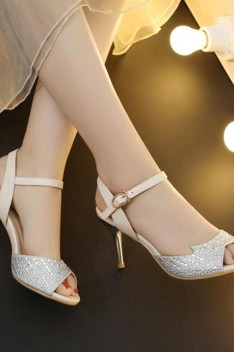 Women's Pure Color High Heel Thin Heel Band Fake Diamond Pumps