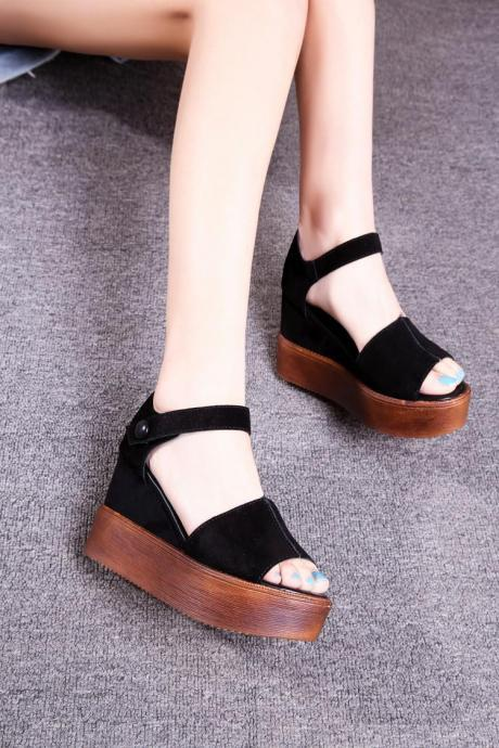 Women's Pure Color Wedge Heel Band Black Pumps