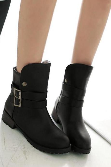 Women's Pure Color Low Heel Thick Double Band Boots