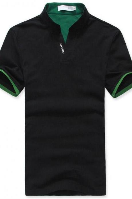 Polo Shirt Men's Slim Cotton Solid Color V-neck