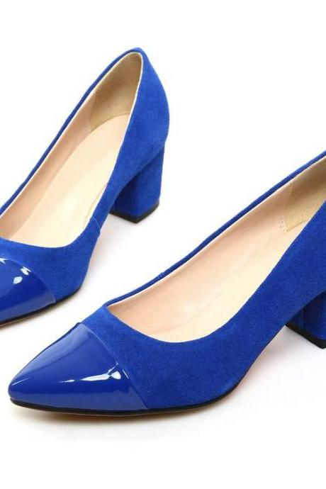 Women's Colour-matching Thick Heel Pointed Toe Pumps
