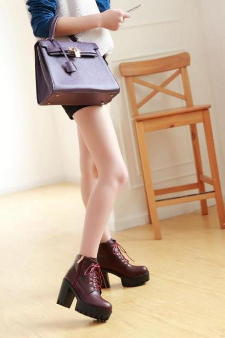 Women's Pure Color Thick Heel Ankle Boots