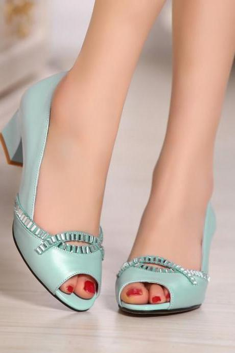 Women's Colour-matching Peep Toe Pump Sandals