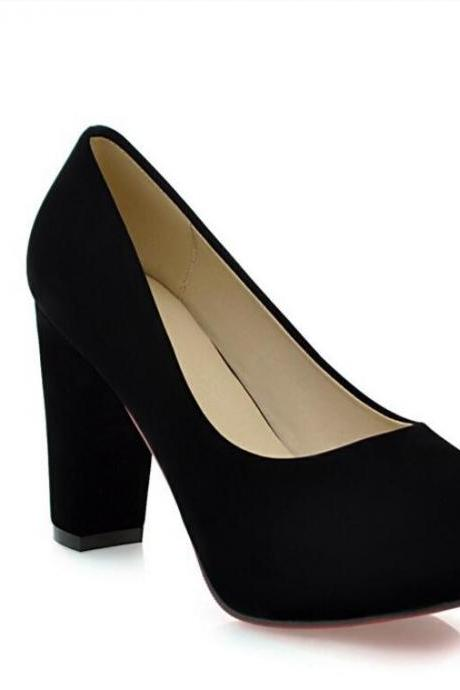 Women's Sweet Pure Color Leasure Fashion Thick Heel Pumps