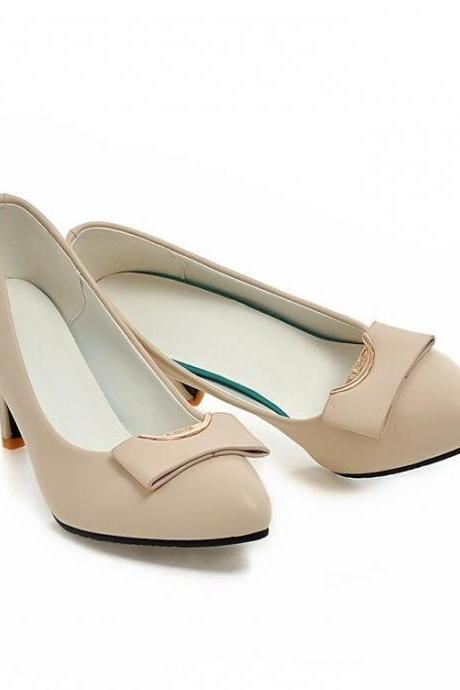 Women's Classical Fashion Pure Color Leasure Thin-heeled Pumps