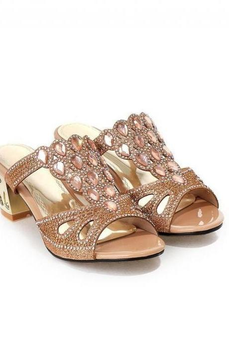 Women's Sweet Fashion Comfortable Thick-heeled Slippers With Crystal Decoration