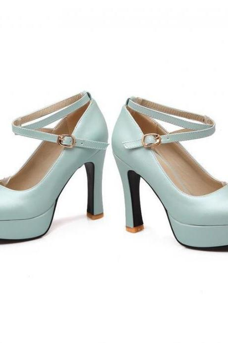 Women's Pure Color Sweet Fashion Leasure Thick-heeled Pumps