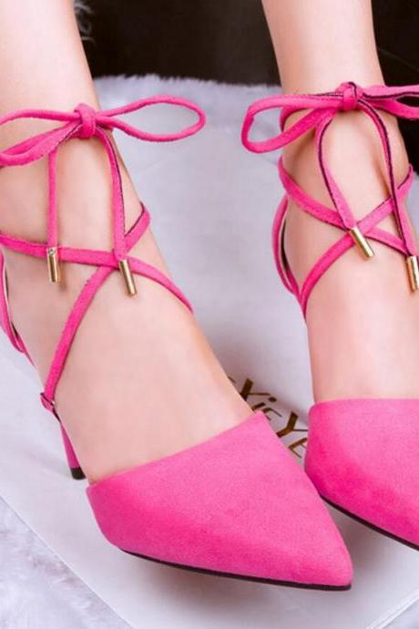 Women's Pure Color Sexy Pointed Toe High Heel Shoes With Bowknot