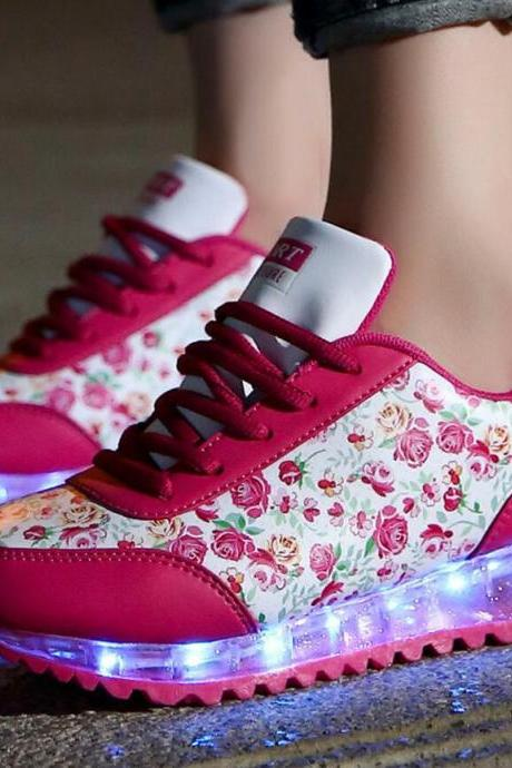 Women's Colorful Usb Charging Floral Sneakers