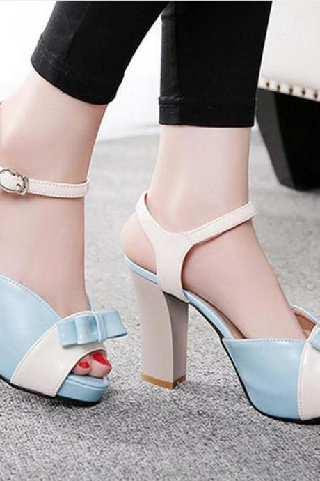 Sandals Heels Women Sweet Bow Hasp Thick High Heel Pumps Mixed Colors Open Toe