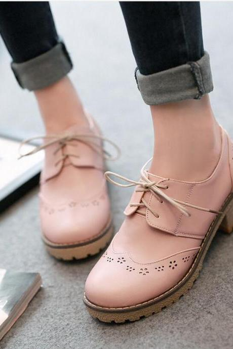 Flats Women Fashion Hollow Lace Up Square Heel Solid Round Toe Richelieu